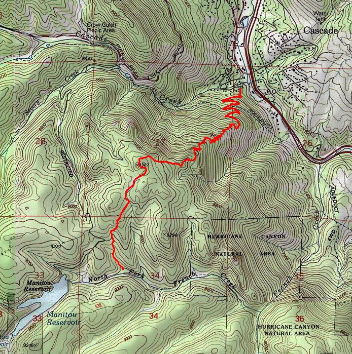 Topographic Map Colorado Springs.Heizer Trail